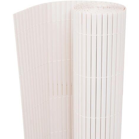 Gartenzaun Doppelseitig 90 x 300 cm Weiß