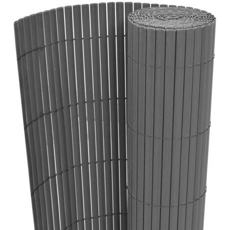 Gartenzaun Doppelseitig PVC 90 x 300 cm Grau