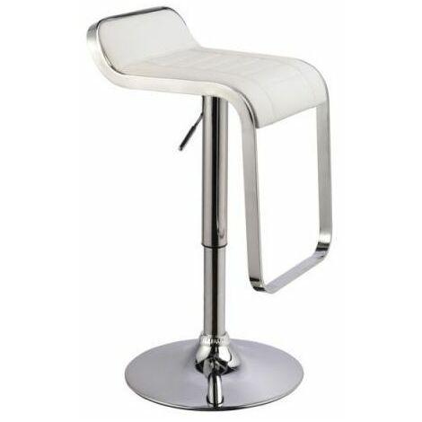 GARVI - Tabouret de bar réglable en hauteur - Hauteur 68-90 cm - Revêtement en similicuir - Chaise de bar - Chaise haute - Blanc