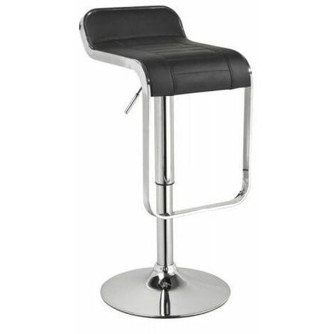 GARVI - Tabouret de bar réglable en hauteur - Hauteur 68-90cm - Revêtement en similicuir - Chaise de bar - Chaise haute - Noir