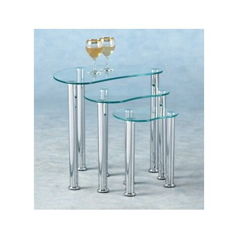 Gary Glass Nest Of Tables - Clear Or Black 3 Tables