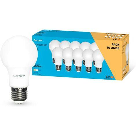 Garza - Bombilla LED de bajo consumo estandar A60 E27 de 470LM y 6W de potencia equivalente a 40W y temperatura amarillo cálido 3.000K A+ 15.000H duración - Pack 10 bombillas