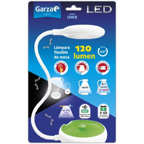 Garza Flexo lámpara LED flexible y plegable sobremesa USB/Pilas Chick 120 lumenes