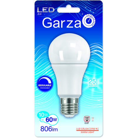Garza Lighting - Bombilla LED Regulable Standard, potencia 10W, luz cálida 2700K