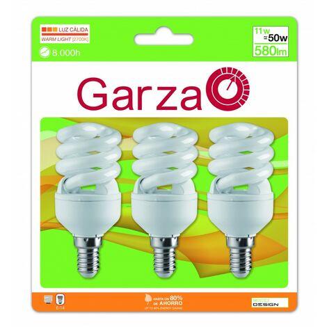 Garza Lighting - Pack 3 unidades de Bombillas de Ahorro, formato Espiral T2, casquillo E14, potencia 11W