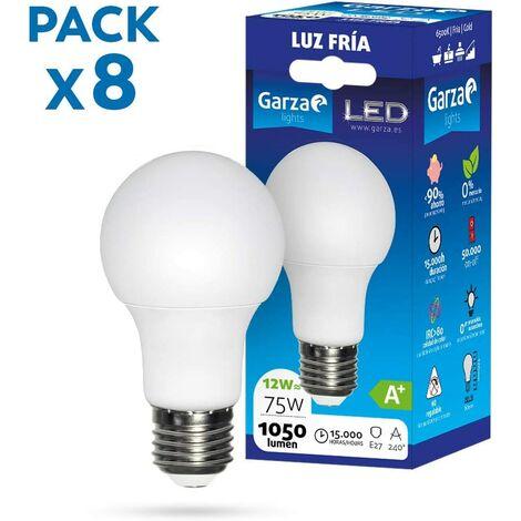 Garza - Pack de 8 Bombillas LED de bajo consumo estandar A60 E27 de 1060LM y 12W de potencia equivalente a 75W y temperatura blanco frío 6.500K 15.000H duración - Pack 10 bombillas