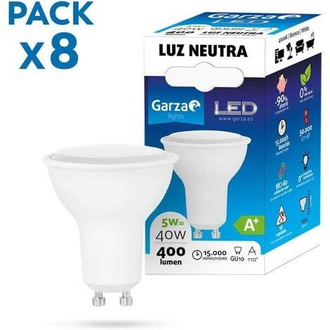 Garza - Pack de 8 Bombillas LED de bajo consumo estandar A60 E27 de 470LM y 6W de potencia equivalente a 40W y temperatura amarillo cálido 3.000K A+ 15.000H duración - Pack 10 bombillas
