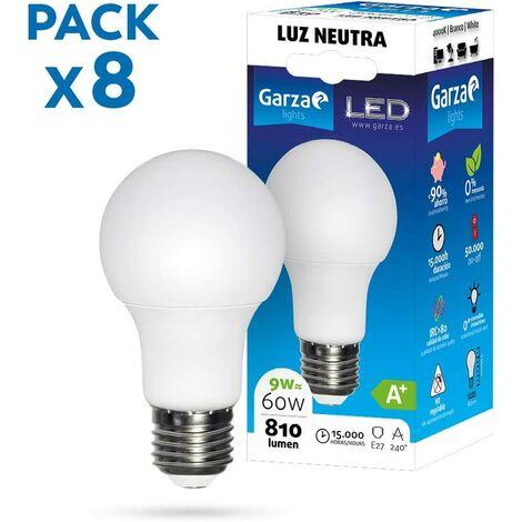 Garza - Pack de 8 Bombillas LED de bajo consumo estandar A60 E27 de 810LM y 9W de potencia equivalente a 60W y temperatura blanco día 4.000K 15.000H duración - Pack 10 bombillas