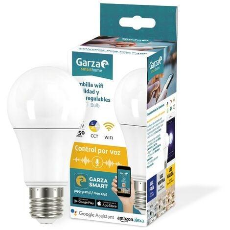 Garza Smarthome - Bombilla LED WiFi CCT compatible con Alexa y Google Home, 10 W, con cambio de intensidad