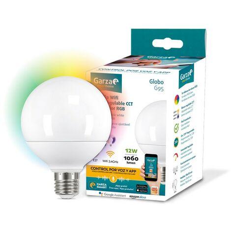 Garza Smarthome - Bombilla LED WiFi CCT + RGB 12w Globo E27 inteligente y programable, cambio de Intensidad + Tonalidad + Color, control por voz y app, Alexa, iOS, Google, Android
