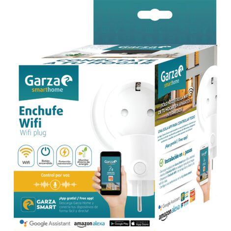Garza SmartHome - Enchufe inteligente wifi compatible con Alexa y Google Home. Enchufe por control remoto y programable controlable a través de App iOS y Android.