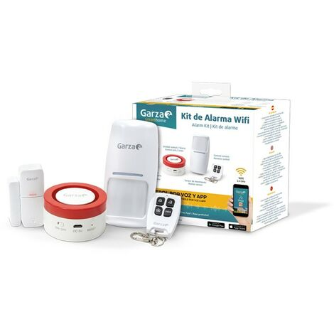 Garza Smarthome - Kit de Alarma Wifi inteligente para hogar, sirena de 120 dB, sensor de movimiento y de puertas o ventanas, control remoto y por voz y app, Alexa, iOS, Google, Android