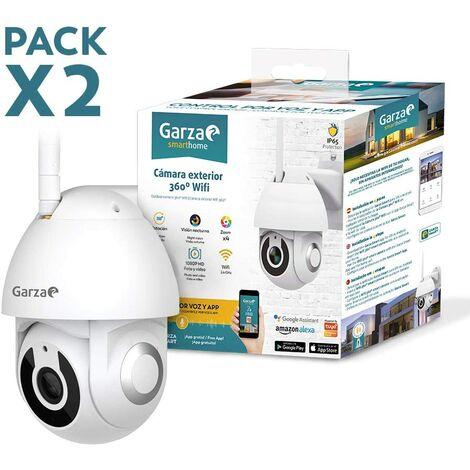 Garza Smarthome - Pack 2 Cámaras Exteriores WiFi 360º 1080p Visión Nocturna