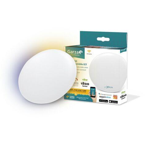Garza Smarthome - Plafón LED WiFi CCT 18w inteligente y programable, cambio de Intensidad y Tonalidad, control por voz y app, Alexa, iOS, Google, Android