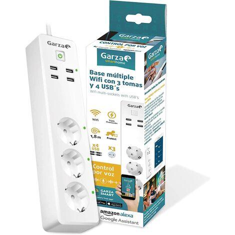 Garza SmartHome - Regleta enchufe múltiple inteligente wifi de 3 tomas compatible con Alexa y Google Home. Regleta por control remoto programable con 4 USB. Controlable con App iOS y Android.