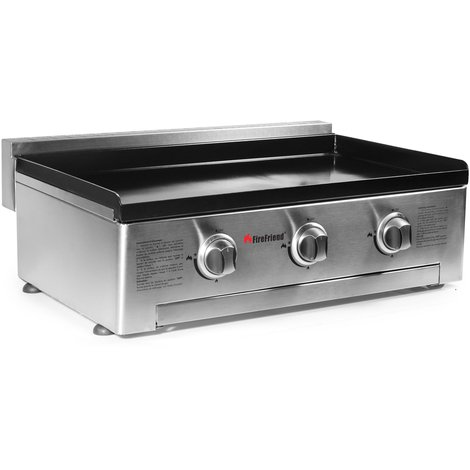 Gas 3 Burner Plancha BBQ in Stainless Steel