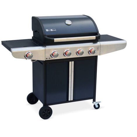 Gas Barbecue - Bazin 4 Anthracite - Barbecue with 4 burners + 1 side burner with shelves, thermometer, storage, wheels