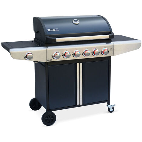 Gas Barbecue - Bazin 6 Anthracite - Barbecue with 6 burners + 1 side burner with shelves, thermometer, storage, wheels