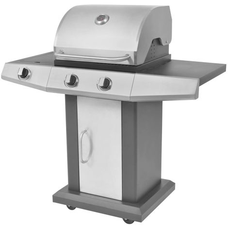 Gas Barbecue BBQ Grill 2 + 1 Cooking Zone Black and Silver