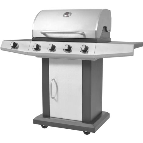 Gas Barbecue BBQ Grill 4 + 1 Cooking Zone Black and Silver