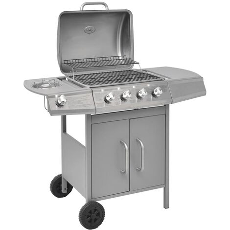 Gas Barbecue Grill 4+1 Cooking Zone Silver