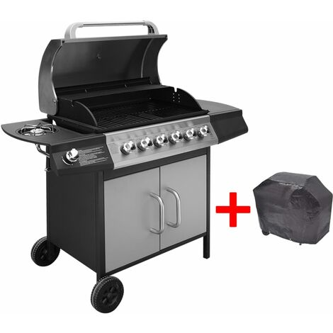 Gas Barbecue Grill 6+1 Cooking Zone Black and Silver