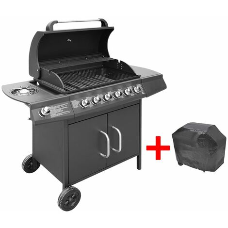 """main image of """"Gas Barbecue Grill 6+1 Cooking Zone Black - Black"""""""