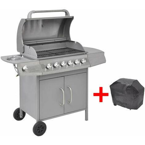 Gas Barbecue Grill 6+1 Cooking Zone Silver
