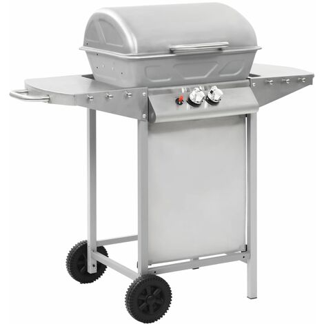 Gas BBQ Grill with 2 Cooking Zones Silver Stainless Steel - Silver