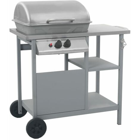 Gas BBQ Grill with 3-layer Side Table Black and Silver - Silver
