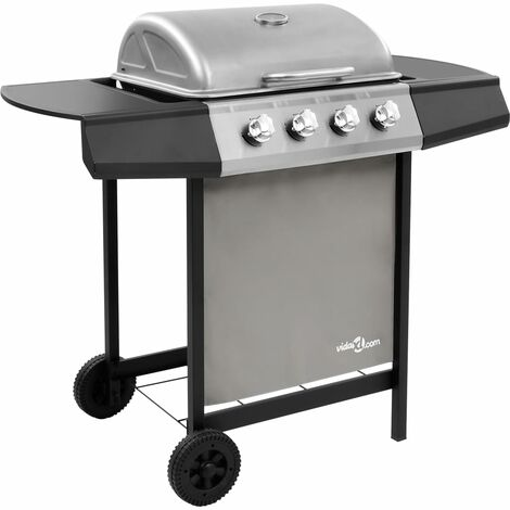 Gas BBQ Grill with 4 Burners Black and Silver (FR/BE/IT/UK/NL only)