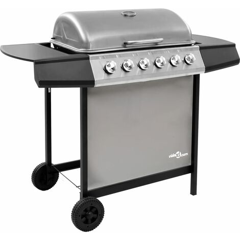 Gas BBQ Grill with 6 Burners Black and Silver (FR/BE/IT/UK/NL only)
