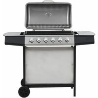 Gas BBQ Grill with 6 Cooking Zones Stainless Steel Silver