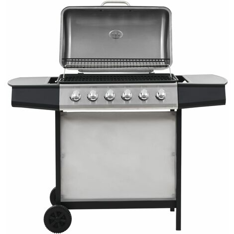 Gas BBQ Grill with 6 Cooking Zones Stainless Steel Silver - Silver