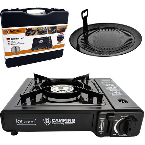 Gas Cooker 1.4 kW Piezo-Ignition with Carry Case BBQ Plate included