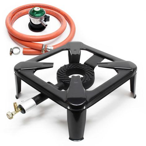 Gas Cooker Set including Gas Stove, Hose, Pressure Regulator for 30mbar Spain