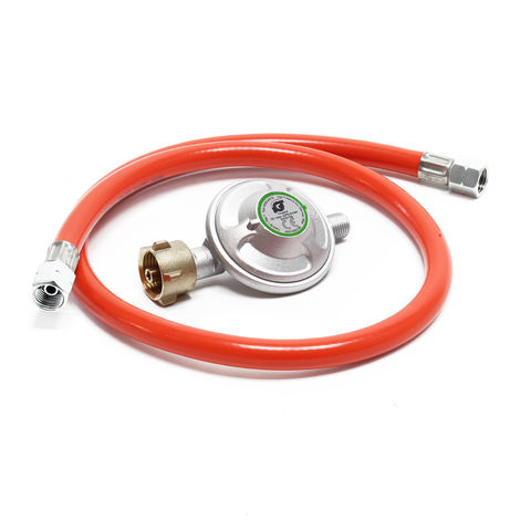 Gas Pressure Reducer with 80cm Propane Hose Reduces Gas Pressure to 50mbar for 21.8x1.14L Cylinders