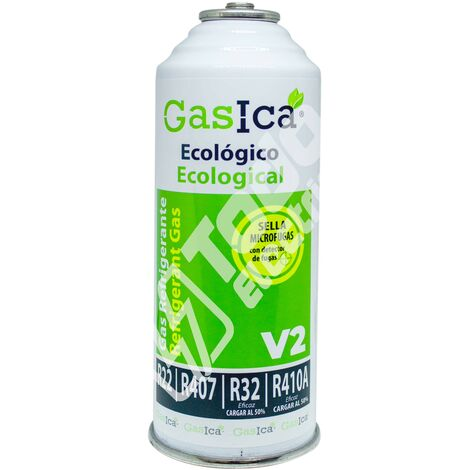 Gas refrigerante orgánico GASICA V2 sustituto R22/R407/R290 y R410A 255gr