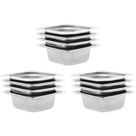 Gastronorm Containers 12 pcs GN 1/6 65 mm Stainless Steel