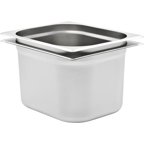 Gastronorm Containers 2 pcs GN 1/2 200 mm Stainless Steel