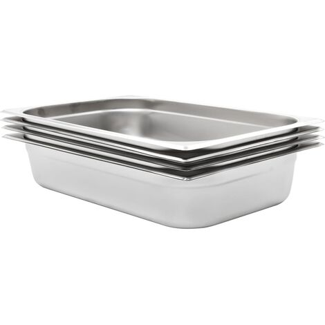 Gastronorm Containers 4 pcs GN 1/1 100 mm Stainless Steel