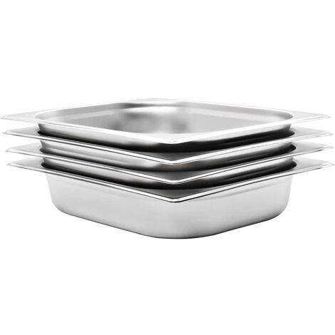 Gastronorm Containers 4 pcs GN 1/2 65 mm Stainless Steel