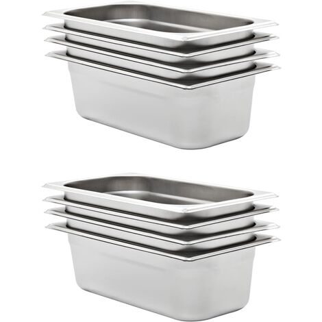 Gastronorm Containers 8 pcs GN 1/3 100 mm Stainless Steel