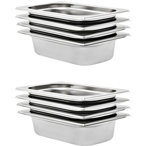 Gastronorm Containers 8 pcs GN 1/4 65 mm Stainless Steel