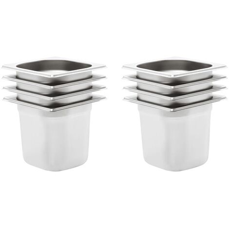 Gastronorm Containers 8 pcs GN 1/6 150 mm Stainless Steel