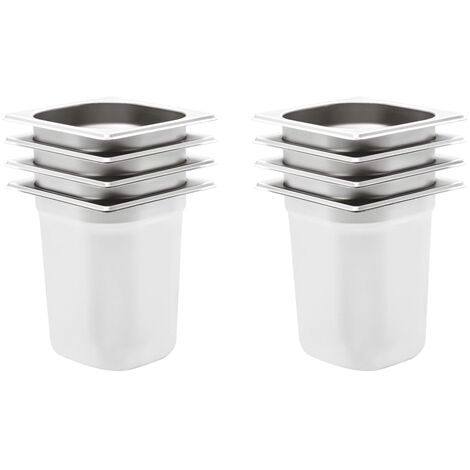 Gastronorm Containers 8 pcs GN 1/6 200 mm Stainless Steel