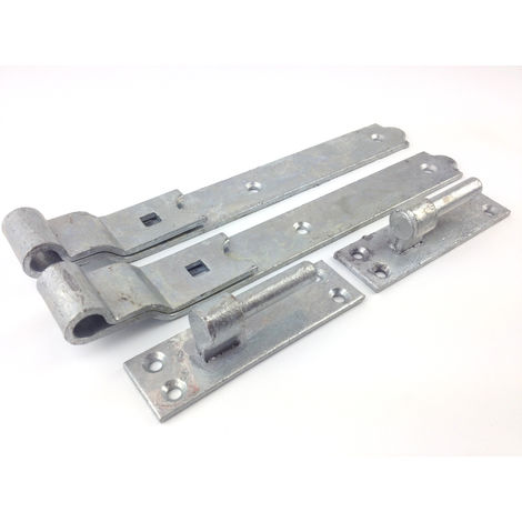 """Gate Hinges Cranked 300mm 12"""" Pair Galvanised Heavy Duty Hook And Band Stable"""