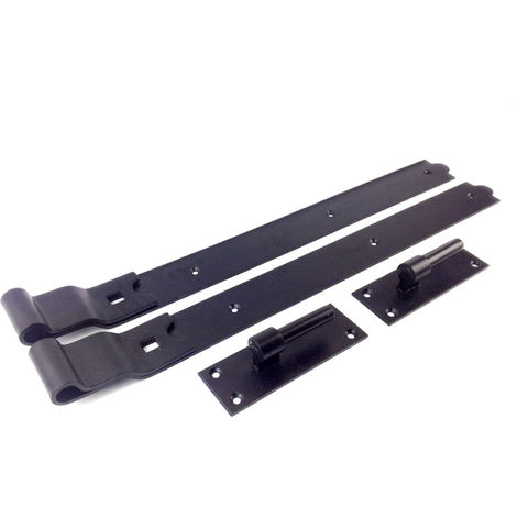 """Gate Hinges Cranked 750mm 30"""" Pair Black Heavy Duty Hook And Band Stable"""