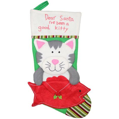 Gato Calcetines de Navidad bolsa de regalo, decoracion colgante del arbol de navidad