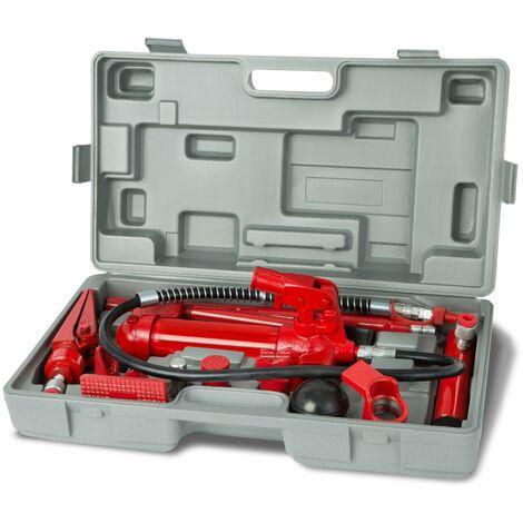 Gato carrocero hidráulico 4 ton prensa hidraulica carroceria reparación (Base en V a 90º, 7x Pieza de presión, 3x Pieza de extensión)